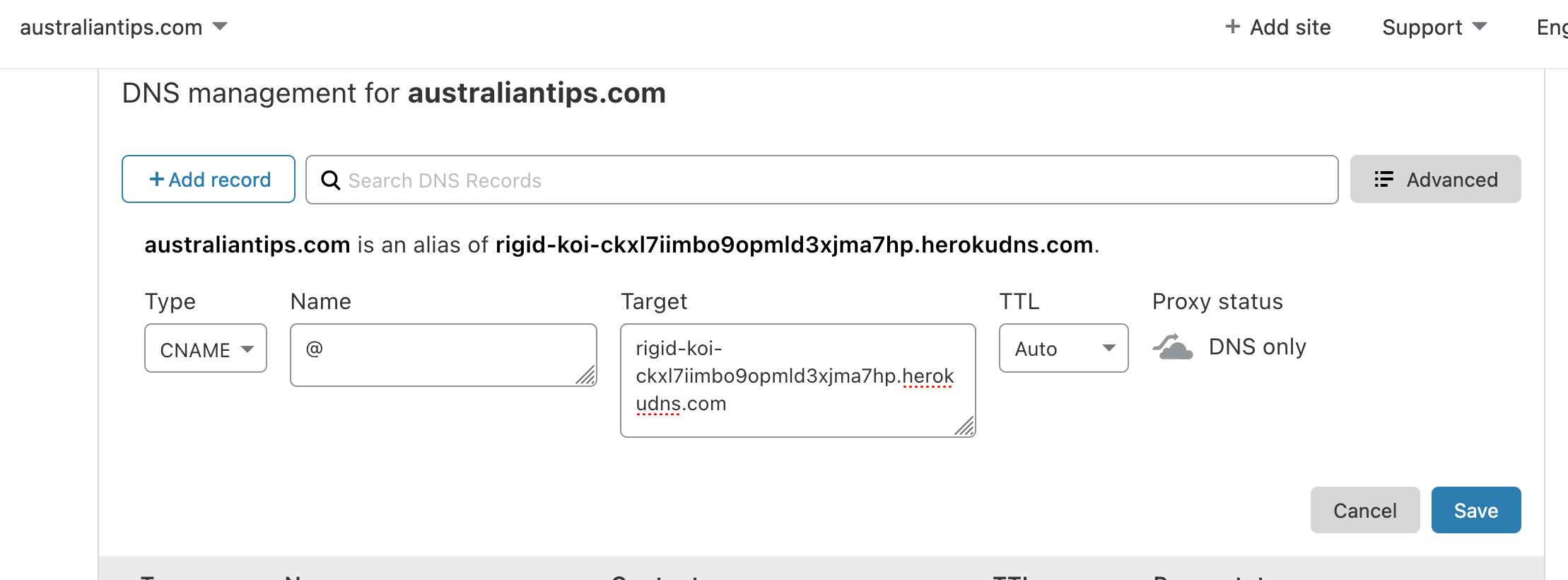 dns settings for heroku domain