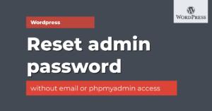 reset admin password of wordpress