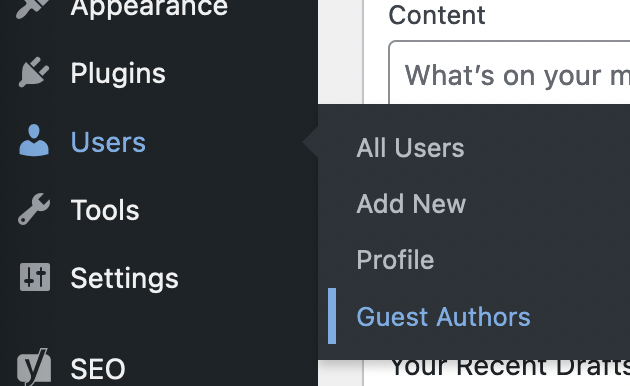 guest authors in wordpress dashboard